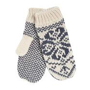 Cream knitted fleece mittens