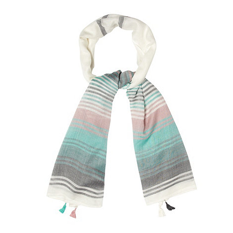 Mantaray - Cream block striped scarf
