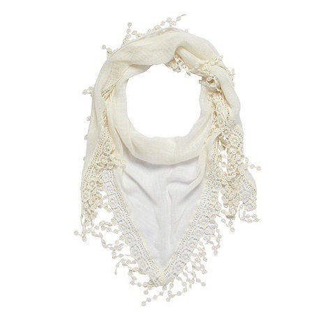 Mantaray - Cream crochet trim scarf