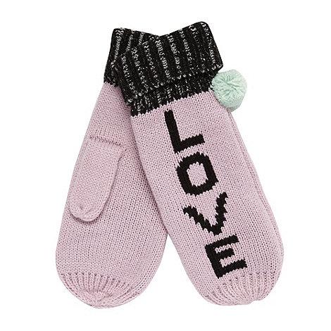 Red Herring - Pink +Love+ pom pom mittens