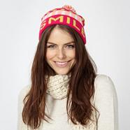 Bright pink 'Smile' knitted beanie hat