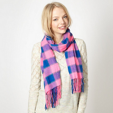 Red Herring - Pink checked woven scarf