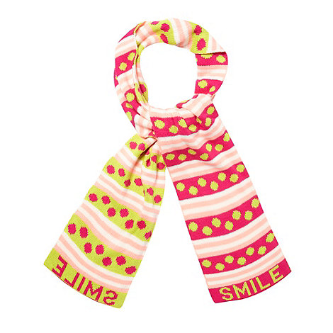 Red Herring - Bright pink 'Smile' knitted scarf