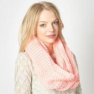 Pink ribbed knitted snood