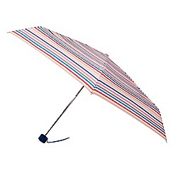 Isotoner - Mini thin 5 section multi coloured stripe umbrella