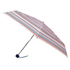 Isotoner - Mini thin 5 section multi coloured stripe umbrella
