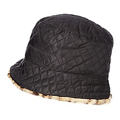 The Collection - Black quilted reversible hat