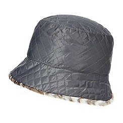 The Collection - Grey quilted reversible hat