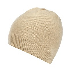 The Collection - Camel plain knitted beanie hat