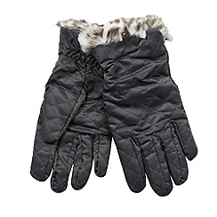 The Collection - Grey quilted faux fur gloves