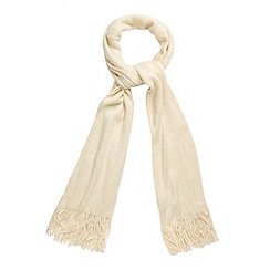 The Collection - Cream fluffy knitted scarf