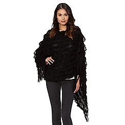 The Collection - Black scalloped knit poncho