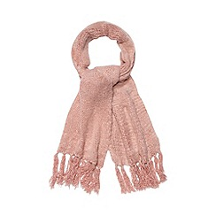 Betty Jackson.Black - Designer pale pink fluffy scarf