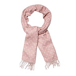 Betty Jackson.Black - Designer pale pink spotted scarf