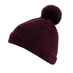 Principles by Ben de Lisi - Designer dark purple hairy knit bobble beanie