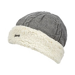Mantaray - Grey cable knitted fleece trim beanie hat