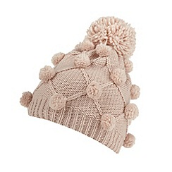 Mantaray - Light pink pom pom knit bobble hat