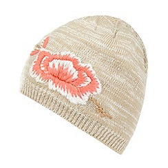 Mantaray - Natural embroidered flower knit beanie