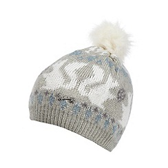 Mantaray - Grey winter fairisle knitted bobble hat