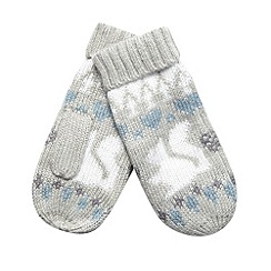 Mantaray - Grey winter fairisle knitted mittens