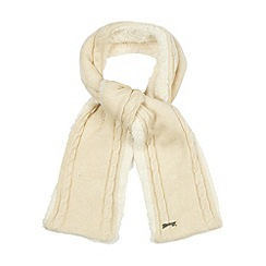 Mantaray - Cream fleece lined cable knit scarf
