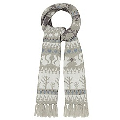 Mantaray - Grey winter fairisle knitted scarf