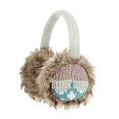 Mantaray - Beige patterned knit earmuffs