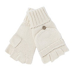 Mantaray - Cream hooded fingerless gloves