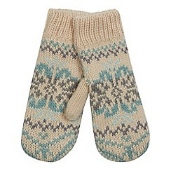 Mantaray - Dark cream fairisle knit mittens