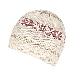 Mantaray - Pale pink fairisle knitted beanie hat