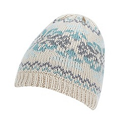 Mantaray - Dark cream fairisle knit beanie hat