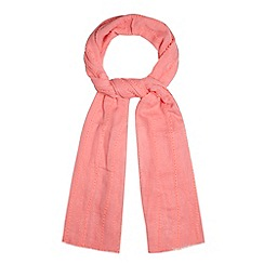 Red Herring - Bright pink bobble striped scarf