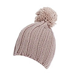 Red Herring - Pale pink metallic cable knit bobble hat