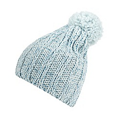 Red Herring - Pale blue metallic cable knit bobble hat