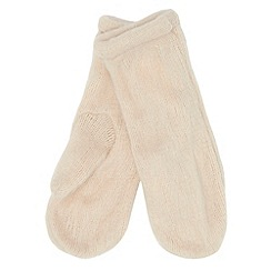 Red Herring - Cream fluffy knitted mittens