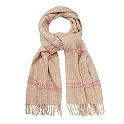 Red Herring - Natural striped boucle scarf
