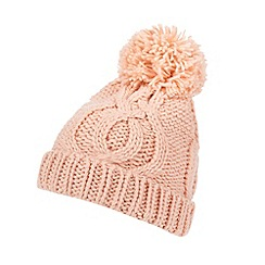 Red Herring - Peach cable knitted bobble hat