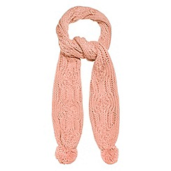 Red Herring - Peach cable knitted pom pom scarf