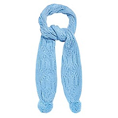 Red Herring - Blue cable knitted pom pom scarf