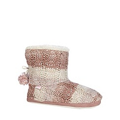 Totes - Cable knit bootie in pink