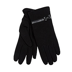 Isotoner - Black thermal bow trim gloves