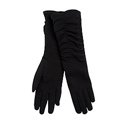 Isotoner - Black longline ruched gloves