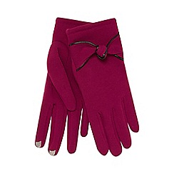 Isotoner - Plum thermal knotted bow gloves