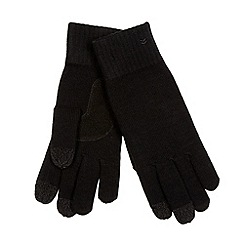 Isotoner - Black 'SmarTouch' leather palm gloves