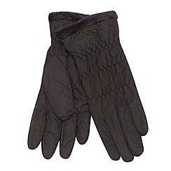 Isotoner - Black fleece trim gloves