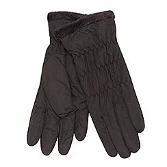 Isotoner - Black fleece trim gloves