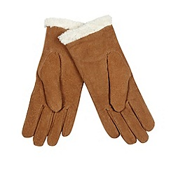 Isotoner - Tan suede faux shearling cuff gloves