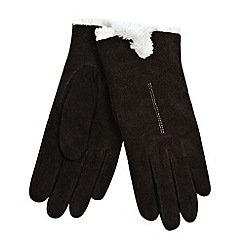 Isotoner - Chocolate suede cuff gloves