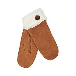Isotoner - Tan suede fleece cuff mittens