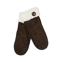 Isotoner - Brown suede fleece cuff mittens